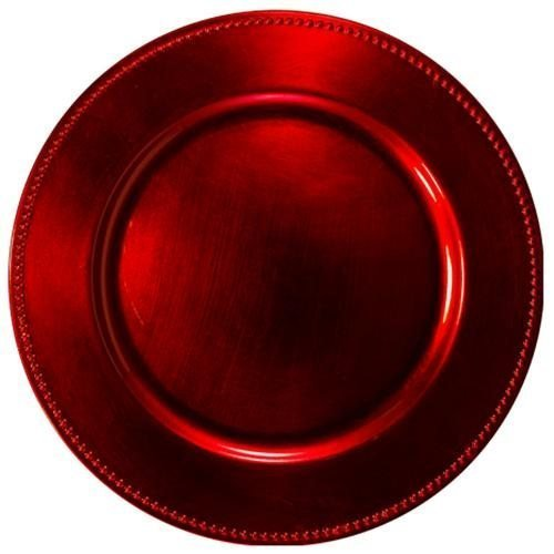 Red Beaded Round Charger Plates Set of 12