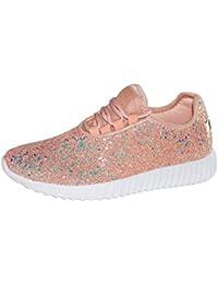 Women Fashion Jogger Sneaker - Lightweight Glitter...