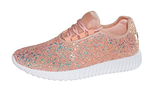 ROXY-ROSE Women's Fashion Glitter Sneaker Walking Shoes Stylish Shoes Sparkly Shoes for Women (6.5 B(M) US, Dusty Rose)