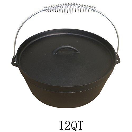 Andreas Dell Dutch Oven 12QT Dutch-Oven aus Gusseisen Fertig eingebrannt 12er Koch-Topf aus Gusseisen voreingebrannt Andreas Dell Import Export