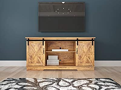 """Rainbow Sophia Forest Series Wooden TV Stand with Sliding Barn Door for TVs up to 65"""""""