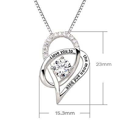 ALOV Jewelry Sterling Silver I Love You to The Moon and Back Love Heart Cubic Zirconia Pendant Necklace