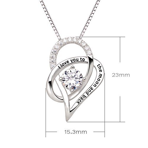 ALOV Jewelry Sterling Silver I Love You To The Moon and Back Love Heart Cubic Zirconia Pendant Necklace by ALOV (Image #2)