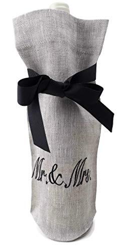 European Oatmeal Linen Embroidered Wine Bottle Bag Mr. & Mrs.