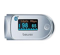 Beurer - Pulsioxímetro de dedo PO 40, medidor de saturación de oxigeno en la sangre y el pulso, color blanco y plata, 57 x 35 x 30 mm, 55 g: Amazon.es: ...
