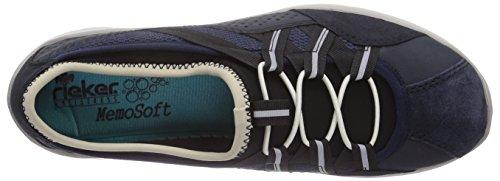 RIEKER Damen Sneakers, Schnuerschuhe, pazifik, 950521-5 Blue/Beige