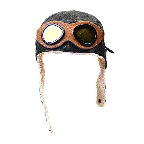 [Kloud City Unisex Toddler Aviator Fleece Hat Earmuffs Cosplay Beanie Winter Cap] (Girls Pilot Costumes)