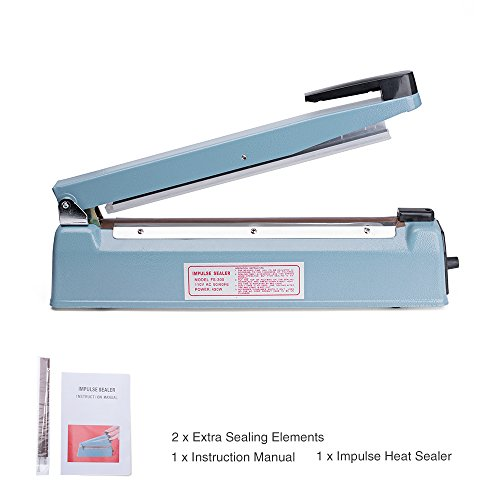 Metronic Impulse Bag Sealer Poly Bag Sealing Machine Heat Seal Closer with Repair Kit (12 inch)
