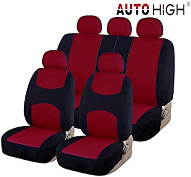 red /& black AUTO HIGH 11 Pieces Car Seat Covers Full Set Breathable Mesh Cloth Automotive Front and Back Seat Protect Covers Fits Most Car Truck Van SUV