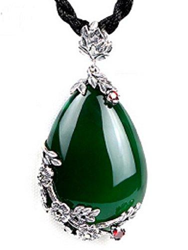 KHLSHOP Genuine Red Royal Bohemian Garnet Pendant 925 Sterling Silver Semi-Precious Chalcedony Stone Necklace Female Fine Jewelry (Green)