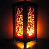 Thai Vintage Handmade ASIAN Oriental Yel Butterfly Flowers Zen Art Bedside Table Lamp Lighting Shades