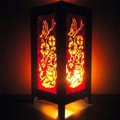 Thai Vintage Handmade ASIAN Oriental Yel Butterfly Flowers Zen Art Bedside Table Lamp Lighting Shades by TD