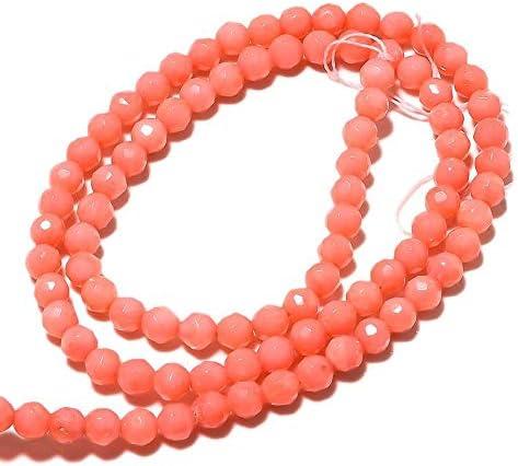 LOVEKUSH Cuentas raras 5 hebras al por mayor cuentas de coral, cuentas redondas de coral facetadas, perlas redondas de 4 mm, collar de coral rosa, 15 pulgadas cada código RM366