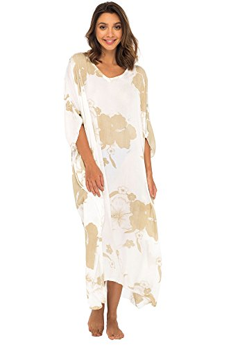 Back From Bali Womens Maxi Swimwear Cover up, Floral Beach Dress for Bikini Swimsuit with Sequins Mocca by Back From Bali
