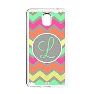 Monogrammed Multicolored Pastel Chevron With Initials Personalized Samsung Note 3 N900 Best Durable PVC White/Black Cover Case Custom Color and Text,New Fashion, Best Gift