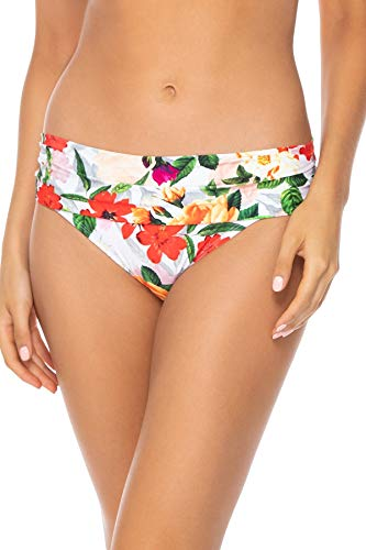 (Sunsets Women's Unforgettable Shirred Band Bikini Bottom Swimsuit, Rose Garden, 16)