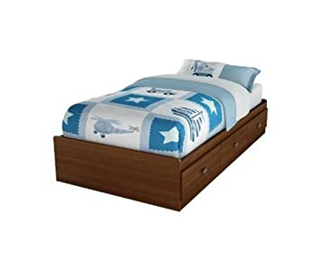south shore nathan kids twin mates storage bed frame only in cherry finish - Kids Twin Bed Frames