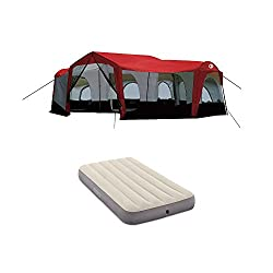 Tahoe Gear Carson Family Cabin Tent, Red + Intex Twin Dura Beam Single Airbed