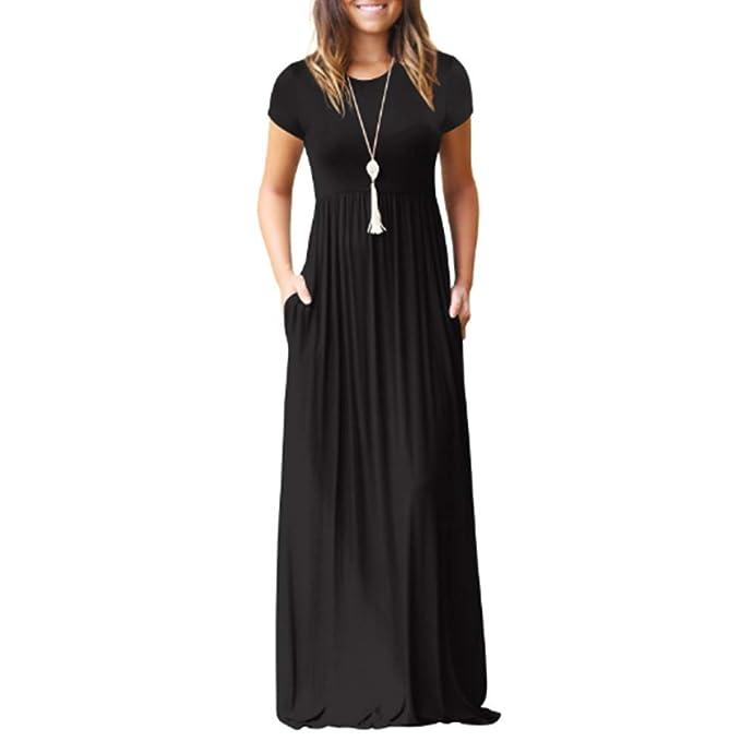 Hemore La Manga Corta de la Mujer Suelta Maxi Vestidos Casuales Vestidos Largos con Bolsillos (XL Azul): Amazon.es: Ropa y accesorios