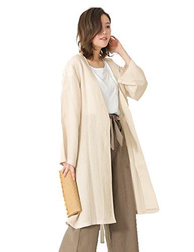 ガウン風コート スプリングコート レディース 羽織 |ノーカラー コート 春物 春服 M/サイズ