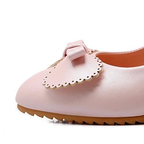 Amoonyfashion Womens Zacht Lederen Pull-on Puntige Dichte Neus Hoge Hakken Stevige Pumps-schoenen Roze