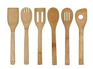 Organic Bamboo Utensil Set,Wooden Cooking Spoons and Spatulas,Antimicrobial Kitchen Tools,Perfect for Nonstick Pan and Cookware,Natural and Eco-friendly Tuners