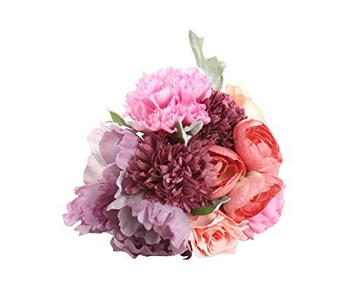 (Lemax Beautiful Artificial Roses Flowers,Fake Flowers Korean Style Wedding Bride Hand Tied Bouquet Home Party Kitchen Garden Decoration(Dark)