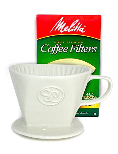 Ceramic Pour Over Coffee Dripper and Single Serve Brewer includes Box of 40 Melitta Cone Filters Size #2 by Simply Charmed