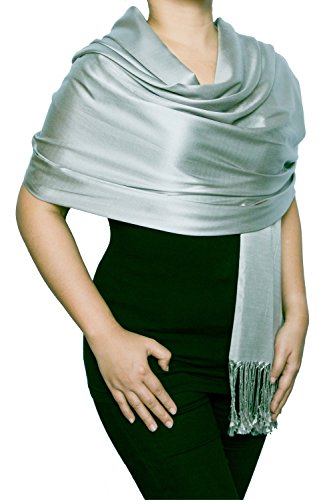 Opulent Luxury Women Scarf Shawl Wrap Reversible 100% Silk Matte Soft Light Gray 70