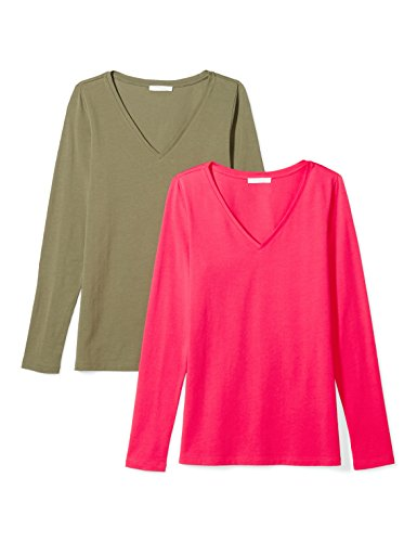 Daily Ritual Women's Stretch Supima Long-Sleeve V-Neck T-Shirt