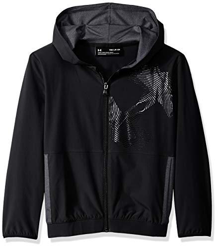 (Under Armour Boys Woven Warm Up Jacket, Black (001)/Black, Youth Large)