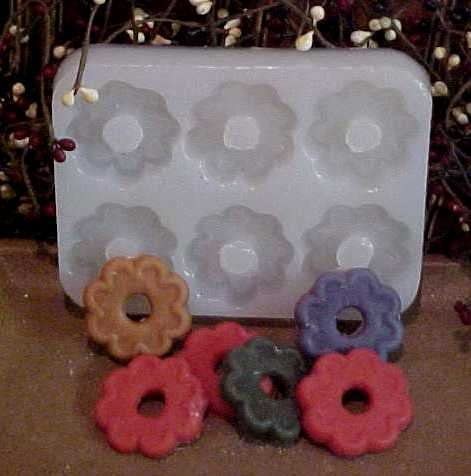 Flower Cookie Embeds 6 Cavity Silicone Mold 5428 Food-Soap-Candle-Resin-Flexible