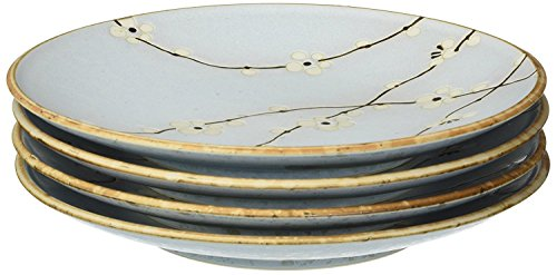 M.V. Trading MQ265BPS6V Japanese Cherry Blossom Round Salad Plates Set, Light Blue, Set of 6 Pieces, 6.50 (L) x 6.50 (W) x 1 (H) Inches