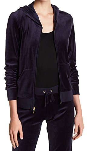 Juicy Couture Zip (Juicy Couture Womens Full Zip Velour Hooded Sweater Blue XS)