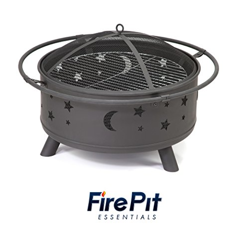 Round Celestial Metal Fire Pit | Star and Moon Design | Wood Burning Fire Pit for Outdoor Patios with Night Sky Vent Detailing, Mesh Spark Screen, Fire Poker and Fire Pit Cover ()
