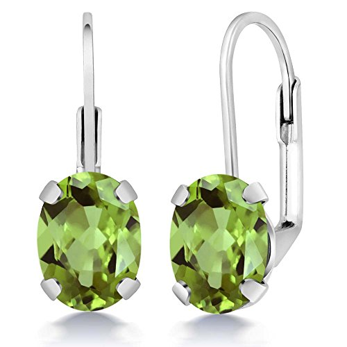 Gem Stone King Sterling Silver Green Peridot Women's Earrings 2.66 cttw Gemstone Birthstone Oval 8X6MM ()