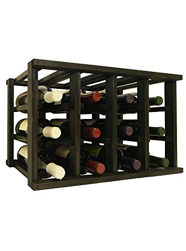 Cheap Mini Stack Individual Wine Rack for 12 Wine Bottles – Fully Assembled – Midnight Black Stain