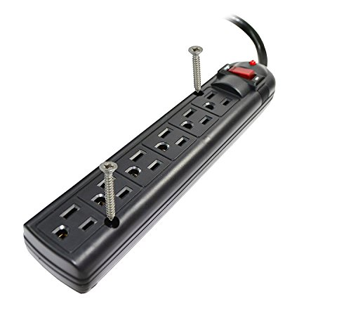 Weltron 6 Outlet Black Surge Protector Power Strip, Wall Mount, 750 Joules, Long 20 Foot Cord Cable