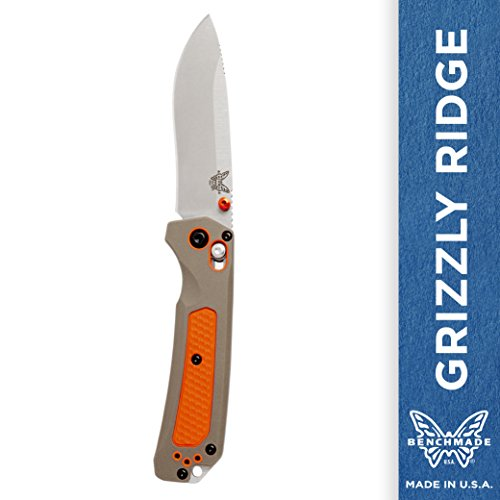 - Benchmade - Grizzly Ridge 15061 EDC Manual Open Hunting Knife Made in USA, Drop-Point Blade, Plain Edge, Satin Finish, Orange Handle