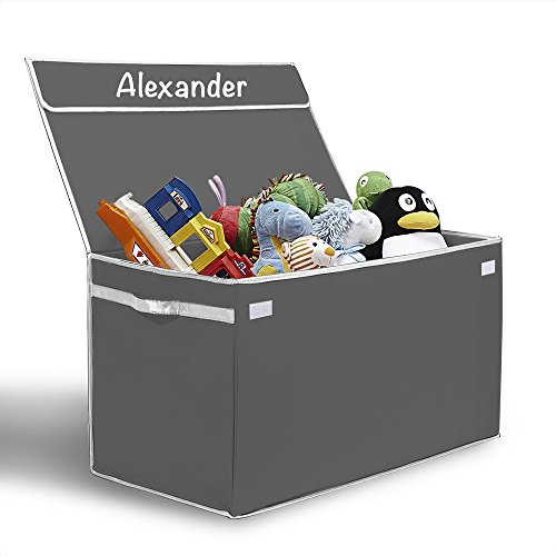 Personalized Toy Box (Personalized Monogrammed G.U.S. Kids Collapsible Toy Chest with Flip-Top Lid, Large, Gray with White Trim)