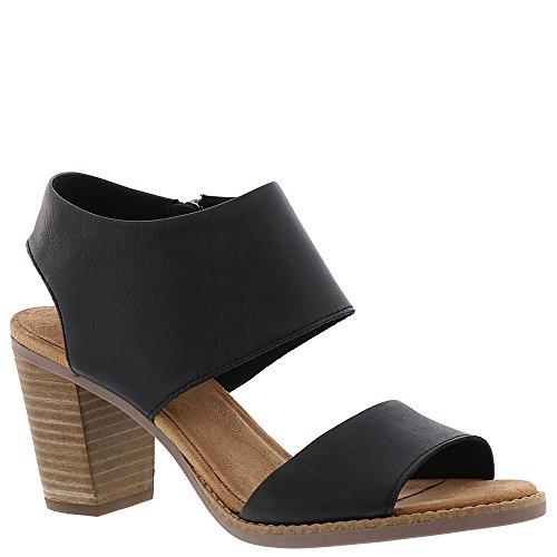 Toms Women's Majorca Cutout Sandal - Black Leather, 9.5 B(M) US ()