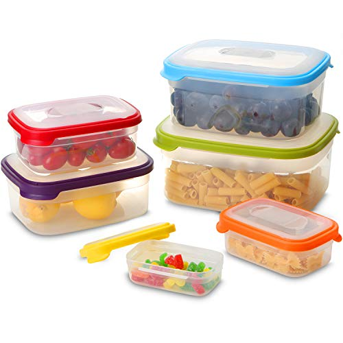 Fun Life Food Storage Containers Premium Plastic Sanwich Lunch Box with Rainbow Leakproof Lids- Microwave, Freezer and Dishwasher Safe, 6-Piece