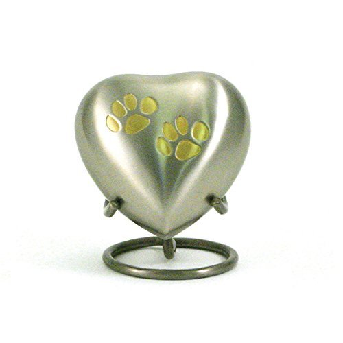 Odyssey Pet Paw Heart Cremation Keepsakes Pewter by OneWorld Pet Memorials