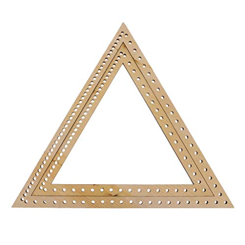 (Prettyia 2 Sizes Decoration DIY Woven Tools Handmade Knitting Weaving Loom Triangle Wooden Weaving Needepoint)