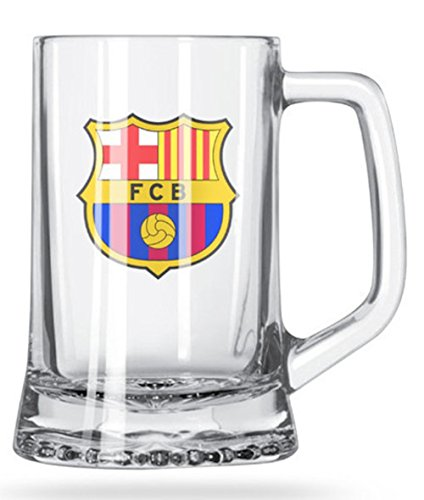Barcelona Football Club - FC BARCELONA SHORT BEER MUG - GLASS MUG WITH THE FC BARCELONA CREST IN FULL COLOR - BUY THE FC BARCELONA BEER MUGS FOR YOUR NEXT PARTY - GET SOME MUGS FOR A FRIEND, GET SOME FOR YOU TOO!