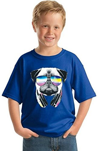 Price comparison product image Awkwardstyles Youth Pug Music Revision T-shirt Gift For Kids Animal Lover Shirt M Blue