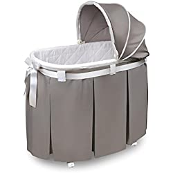 Badger Basket Wishes Oval Bassinet Full Length Skirt, Gray