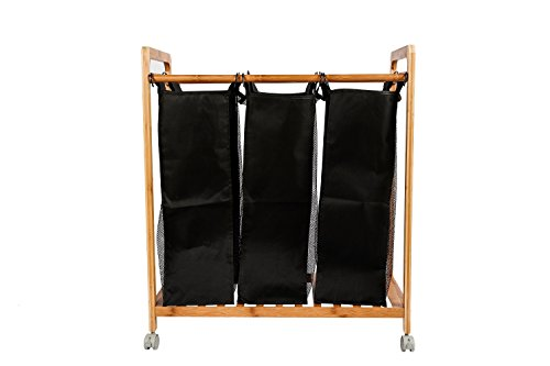 Zhuyue Laundry Hamper Sorter Organizer with 3 Removable and Washable Canvas Bag Black Bamboo Cloth Storage Basket