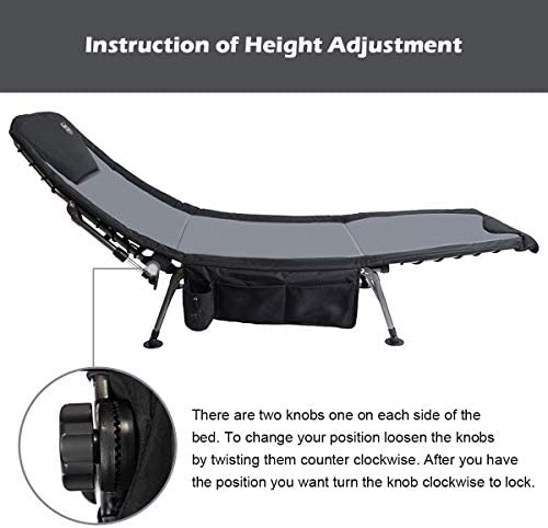 Side Storage Bag Timber Ridge Camping Cot XL Folding Supports 350 lbs Utility Adjustable Reclining Seat Full Padded Fishing Bed Heavy Duty Portable with Carry Bag