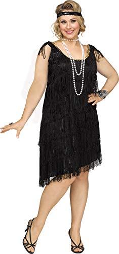 Fun World Women's Plus Size Shimmery Flapper Costume, Black, ()